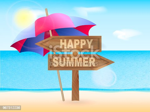 Wooden pointer Happy summer with beach umbrella. Vector illustration