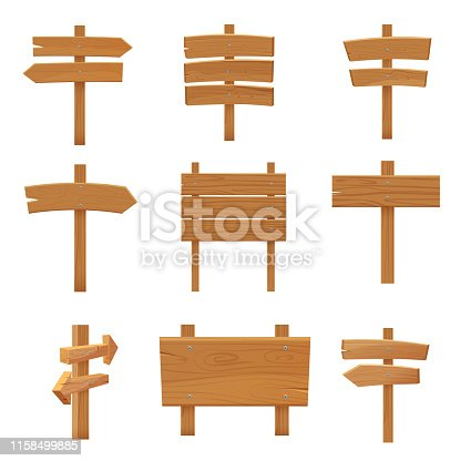 Wooden pointers signboards set cartoon vector illustration
