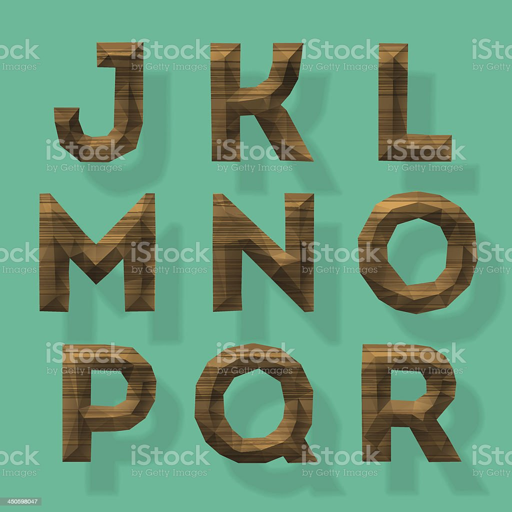 Wooden polygonal alphabet, part 2 vector art illustration