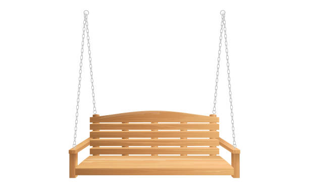 Wooden porch swing bench hanging on chains Wooden porch swing hanging on chains isolated on white background. Vector swing bench for outdoor, garden and patio porch stock illustrations