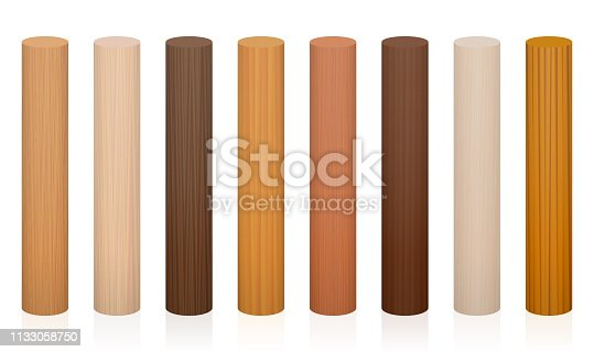 Wooden posts. Collection of wooden rods, different colors, glazes, textures from various trees to choose - brown, dark, gray, light, red, yellow, orange decor models - vector on white background.