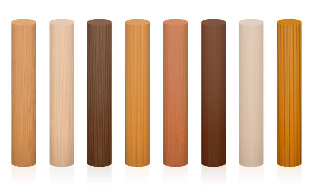 Wooden posts. Collection of wooden rods, different colors, glazes, textures from various trees to choose - brown, dark, gray, light, red, yellow, orange decor models - vector on white background. vector art illustration