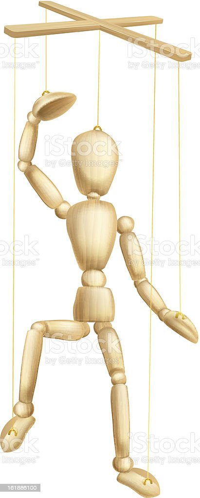 Wooden puppet vector art illustration