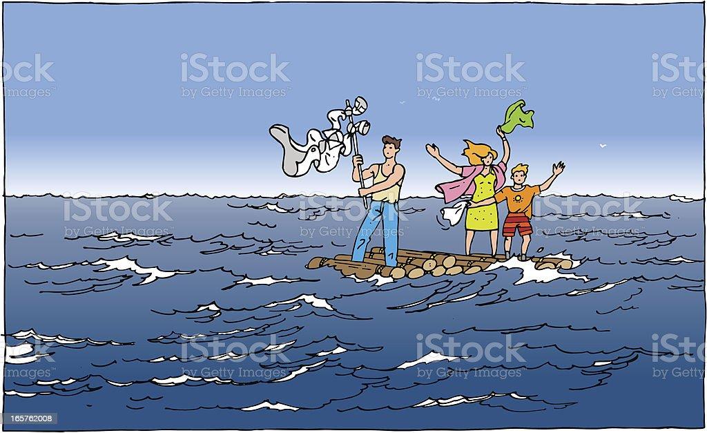 Wooden Raft vector art illustration
