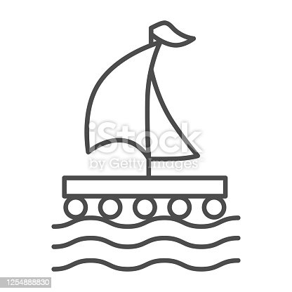 Wooden raft with sail thin line icon, nautical concept, Boat sign on white background, raft icon in outline style for mobile concept and web design. Vector graphics