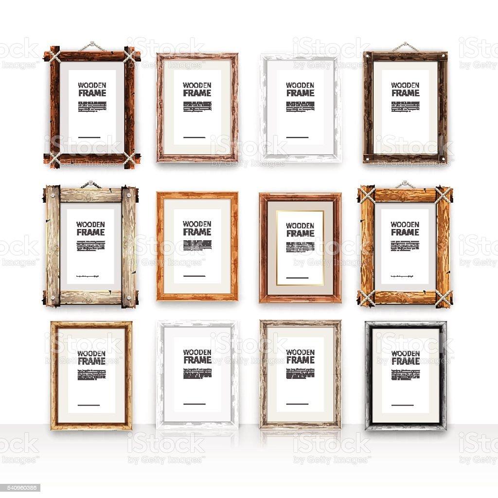 Wooden Rectangle Frames Set vector art illustration
