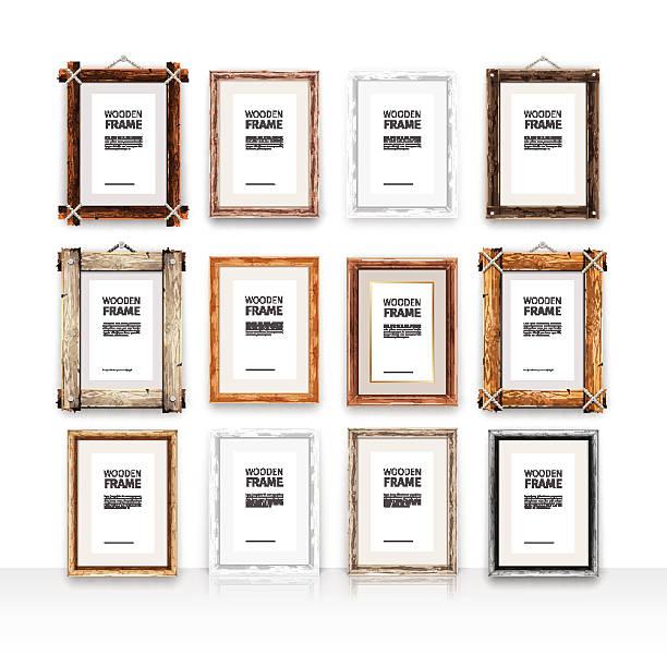 ilustraciones, imágenes clip art, dibujos animados e iconos de stock de conjunto de marcos de madera rectangular - bordes de marcos de fotografías