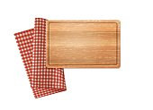 Wooden Rectangular Cutting Board And Traditional Red Plaid Linen Napkin Isolated On White. Vector Photo Realistic Kitchen Illustration. Top View