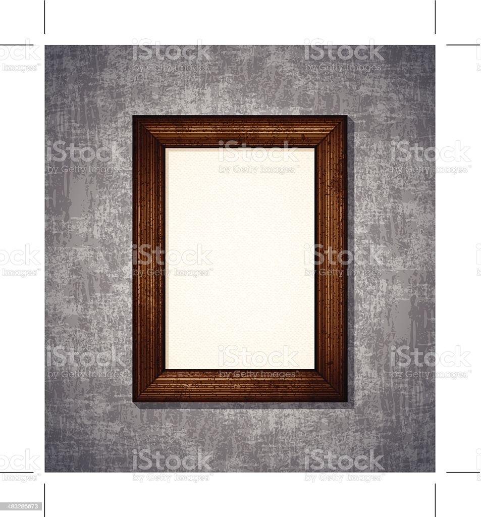 wooden rectangular picture frame vector art illustration