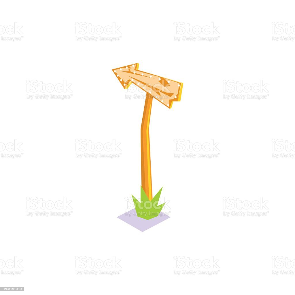 Wooden Road Sign With Arrow Jungle Village Landscape Element vector art illustration