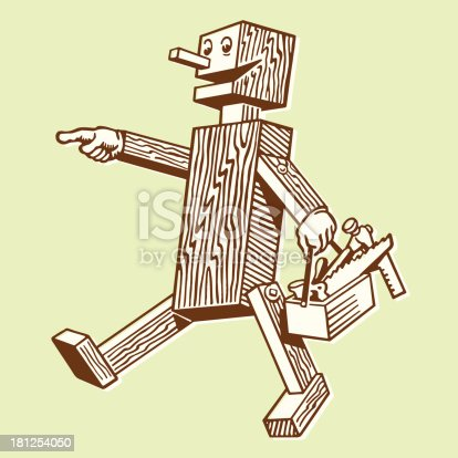 Wooden Robot Carrying a Toolbox
