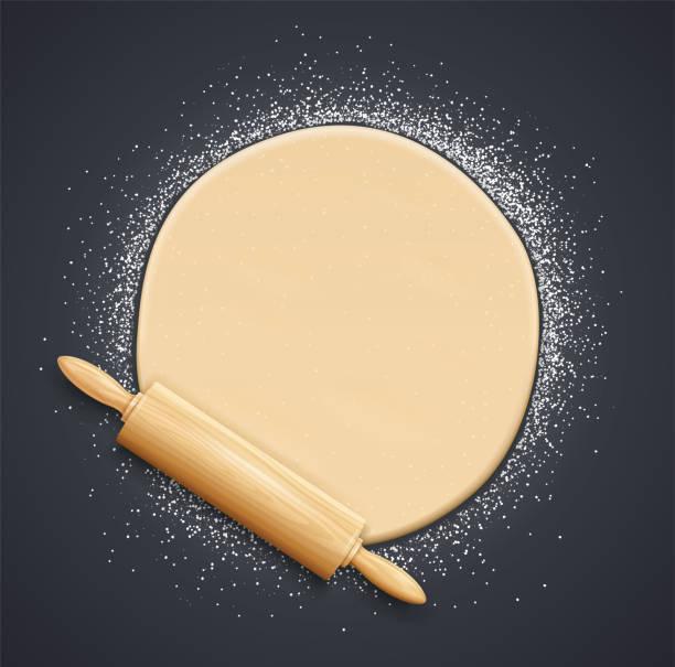 illustrazioni stock, clip art, cartoni animati e icone di tendenza di wooden rolling pin and kneading dough with flour. vector illustration. - impastare