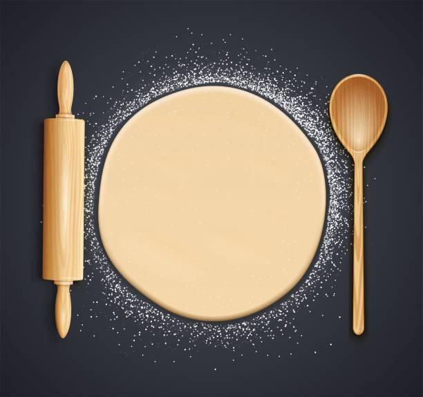 illustrazioni stock, clip art, cartoni animati e icone di tendenza di wooden rolling pin, spoon and kneading dough with flour. vector illustration. - impastare