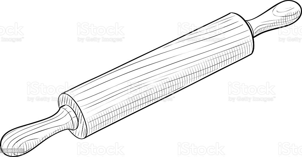 Wooden rolling pin vector art illustration