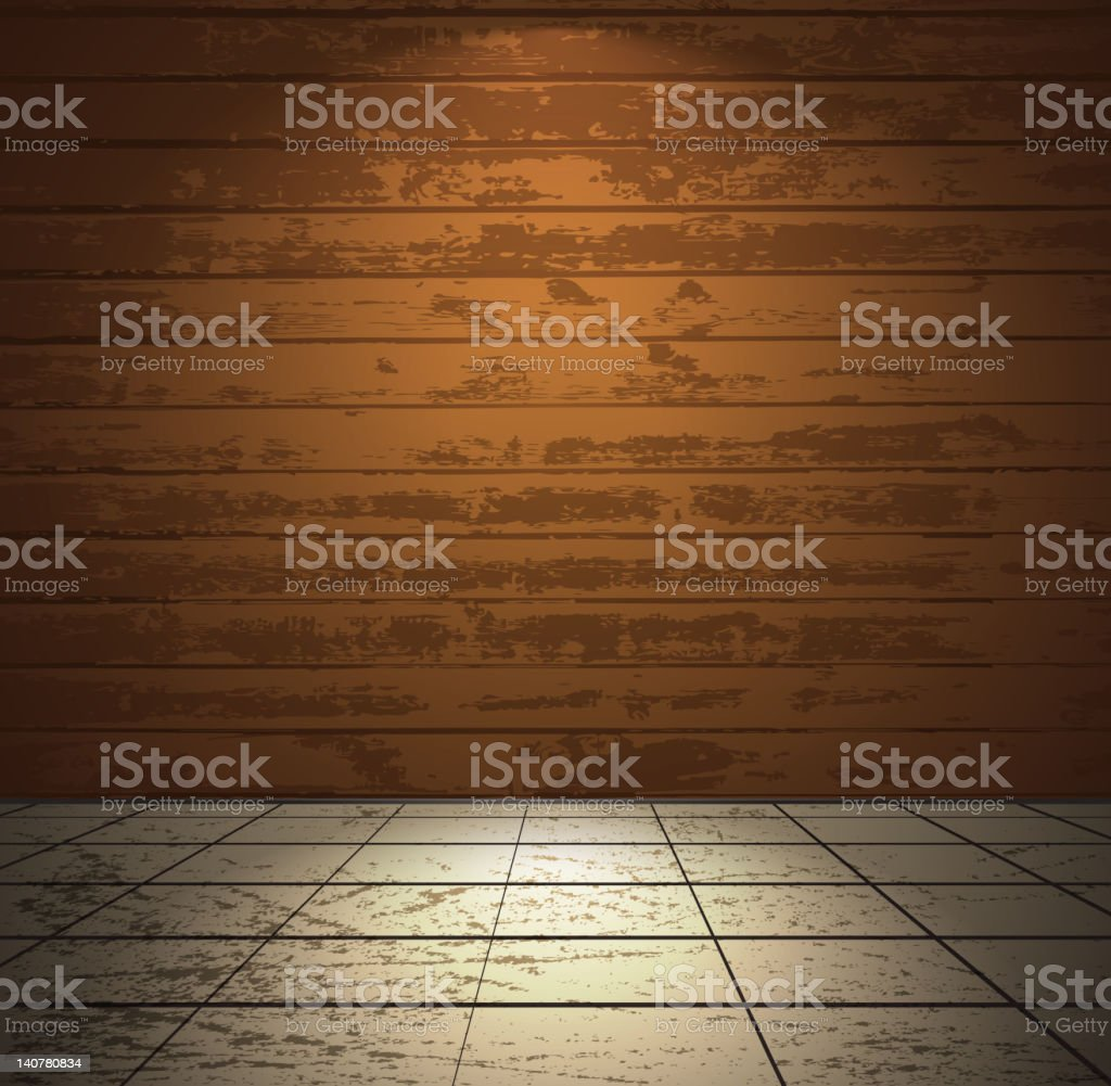 Wooden room with tiled floor vector art illustration