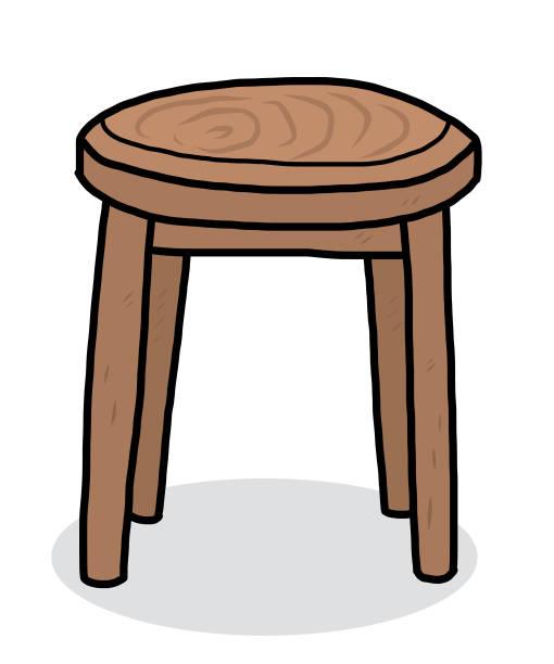 Wooden Round Chair Vector Art Illustration