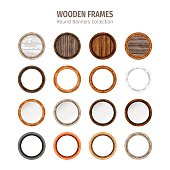Wooden frames round banners collection. Used pattern brushes included in Brushes panel. Used patterns included in Swatches pannel. Clipping paths included.