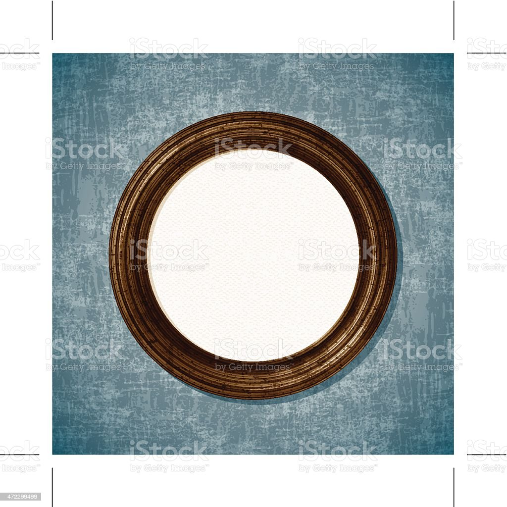 wooden round picture frame royalty-free stock vector art