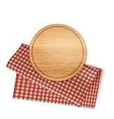 Wooden Round Plate And Traditional Red Chekered Linen Napkin Isolated On White. Vector Photo Realistic Kitchen Illustration. Top View