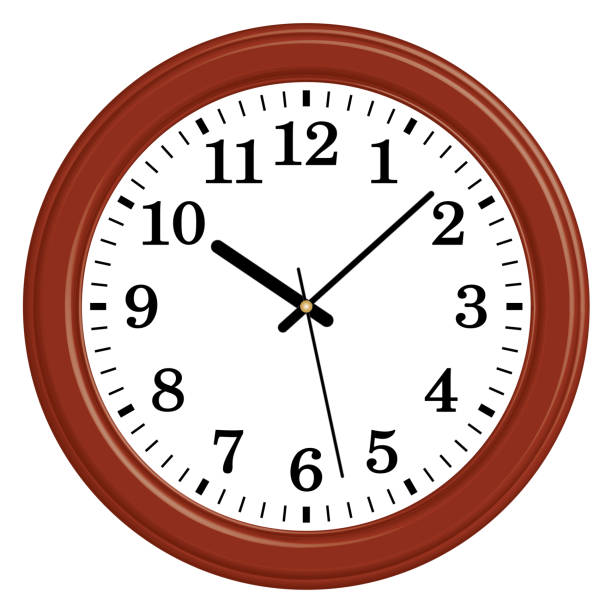 Wooden round wall clock. Classic style. 3D effect and flat vector Part of home decor with modern and traditional style wall clock stock illustrations