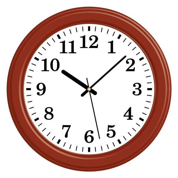 ilustraciones, imágenes clip art, dibujos animados e iconos de stock de reloj de pared redondo de madera. estilo clásico. efecto 3d y vector plano - wall clock