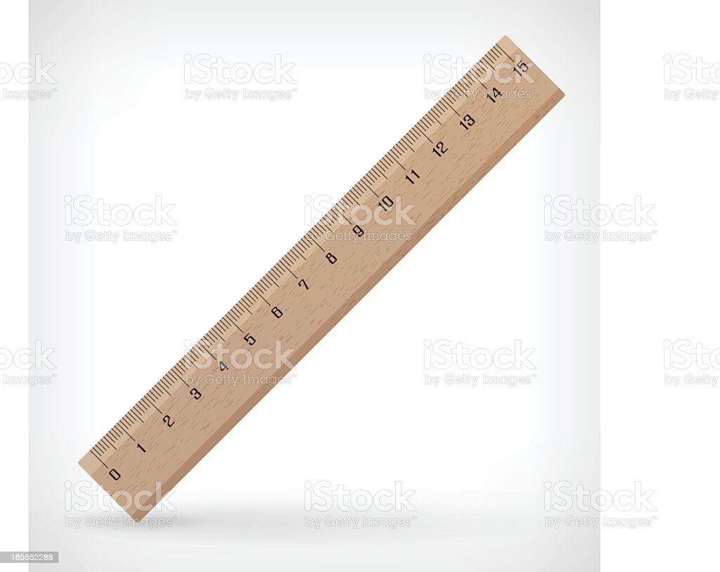 Wooden ruler illustration measuring inches vector art illustration