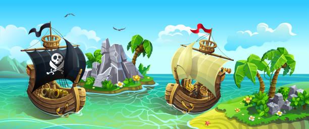 Wooden sailing ships among tropical islands. Pirates hunt for treasure. Vector panorama of wooden sailing ships among tropical islands. Pirates hunt for treasure. pirate ship stock illustrations
