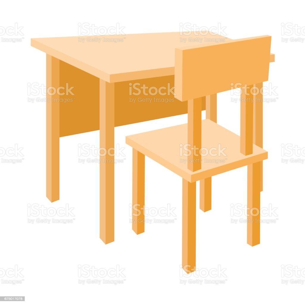木製学校机と椅子アイコン漫画のスタイル からっぽのベクターアート