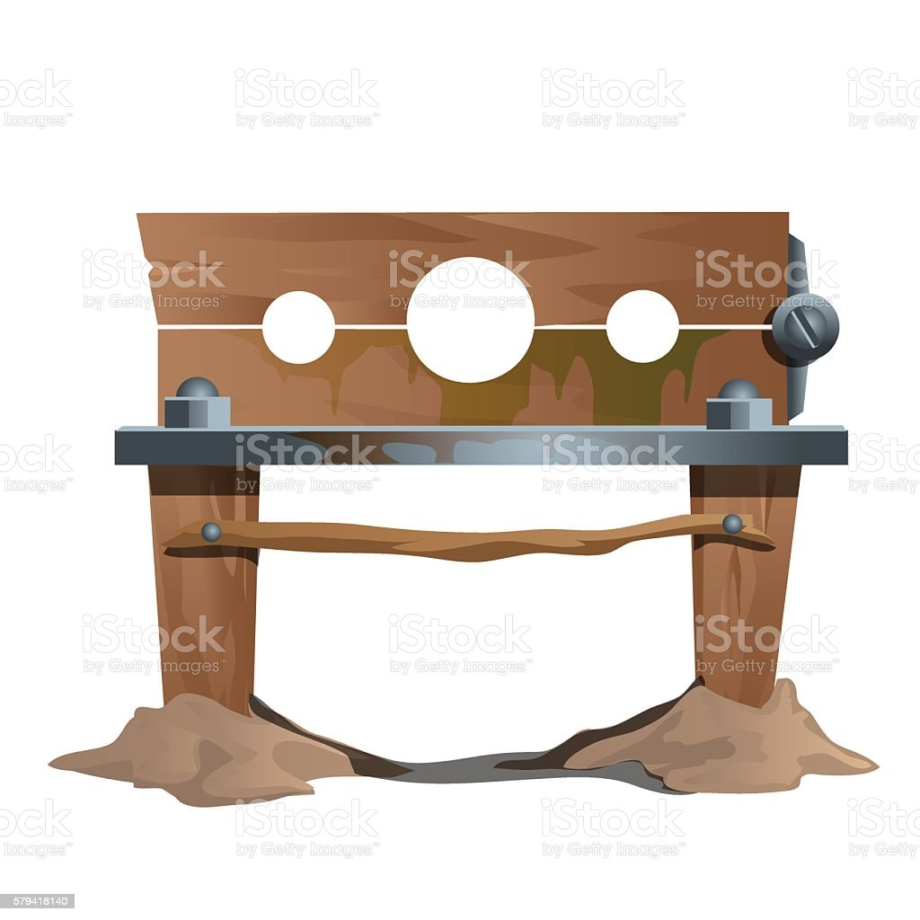 Wooden shackles, ancient instrument of execution vector art illustration