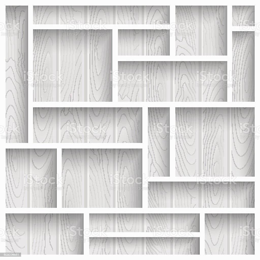 Wooden shelves vector art illustration