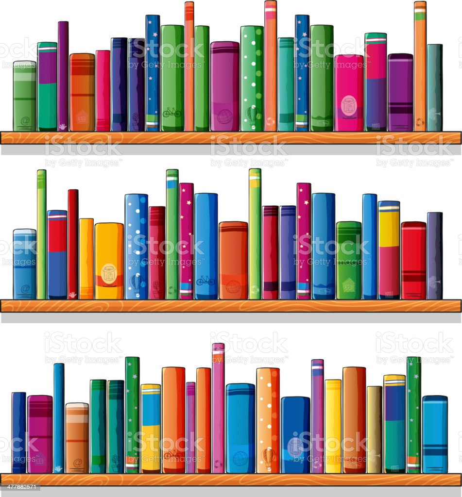 Wooden shelves with books royalty-free stock vector art