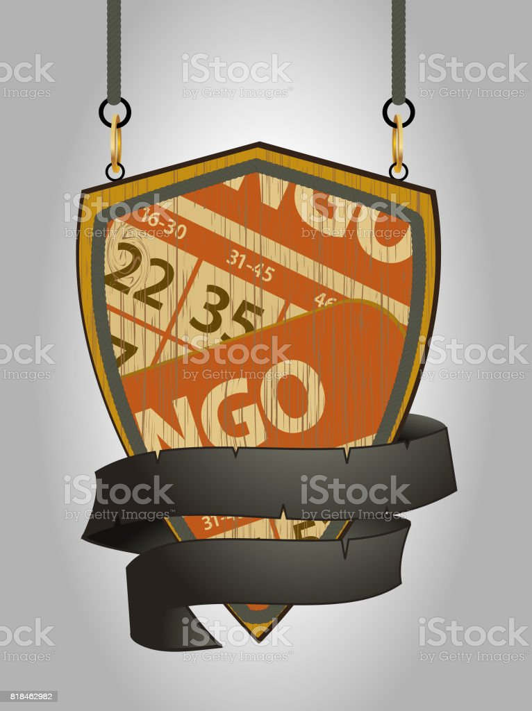 Wooden shield sign with bingo cards and rope detail vector art illustration