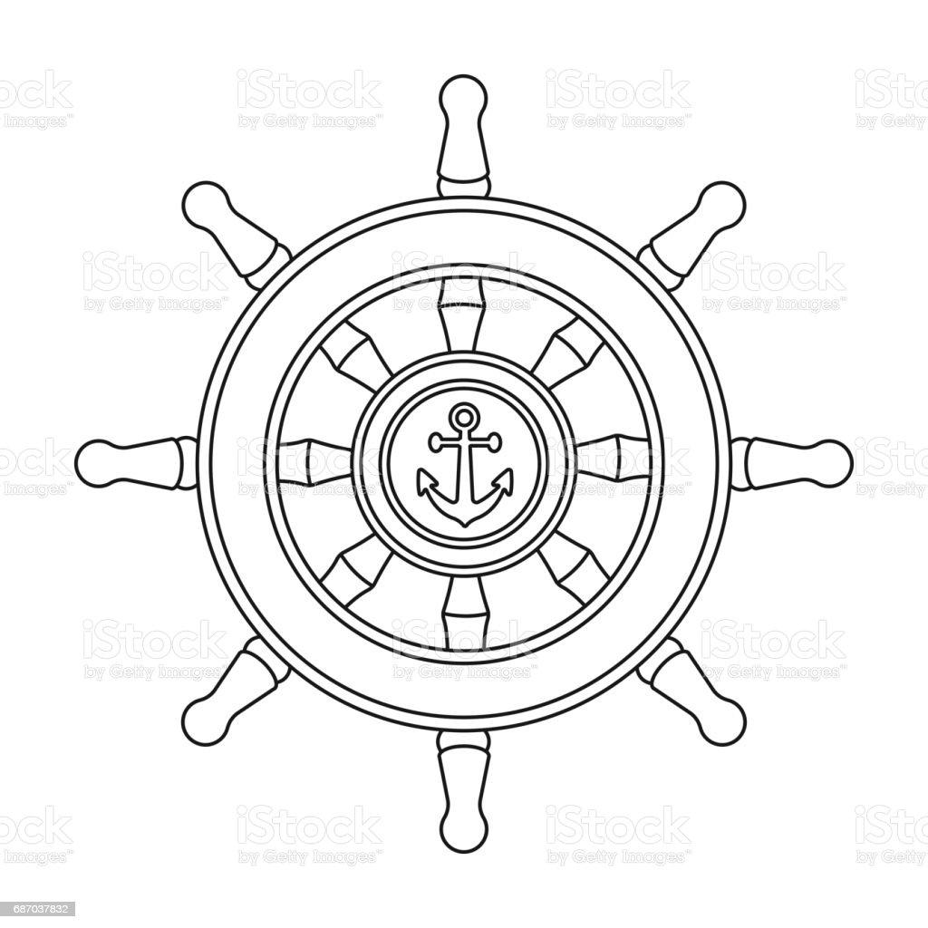 wooden ship steering wheel icon in outline style isolated