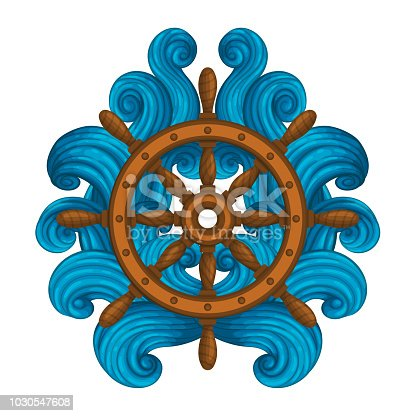 Vector icon, sticker, t-shirt design, label design template. Wooden ship's wheel encircled with stylized waves.