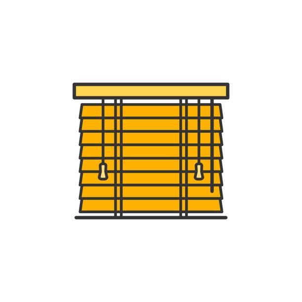 żaluzje drewniane i pozioma ikona płaskiej linii jalousie - store stock illustrations