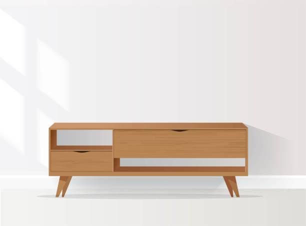 ilustrações de stock, clip art, desenhos animados e ícones de wooden sideboard isolated on white background. - sideboard