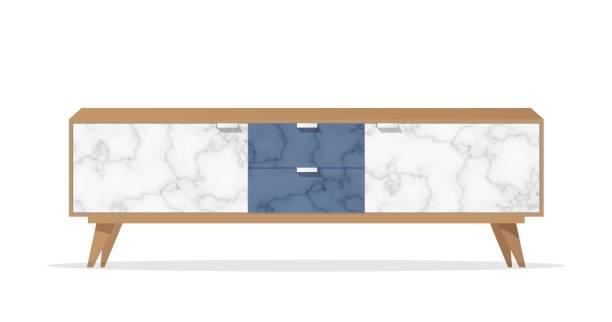 ilustrações de stock, clip art, desenhos animados e ícones de wooden sideboard with marble pattern on white background. - sideboard