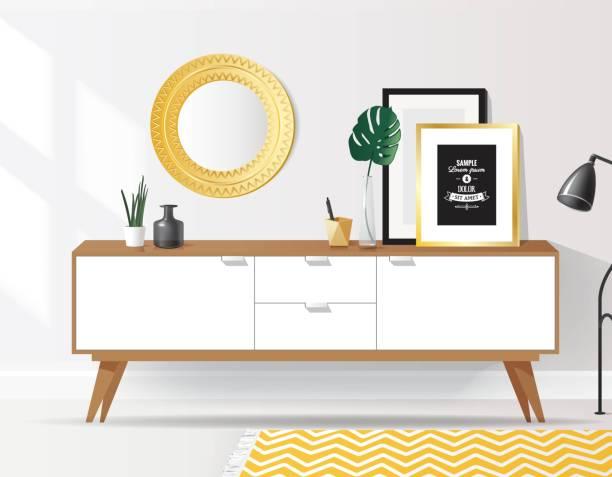 ilustrações de stock, clip art, desenhos animados e ícones de wooden sideboard with plants and posters on it against white wall. - sideboard