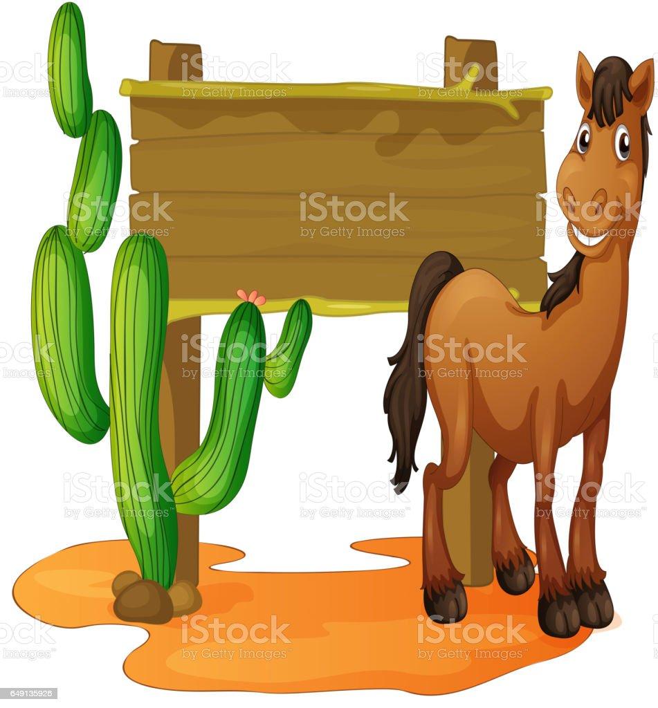 Wooden sign and wild horse in desert vector art illustration