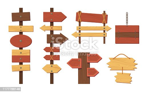 Wooden sign boards empty planks or signboards. Summer road sign pointers for information advertising. Round, square, arrow shapes empty wooden for message cartoon vector illustration