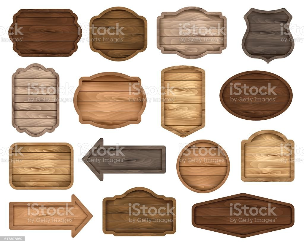 Wooden sign boards, stickers, labels, banners and badges. Vector