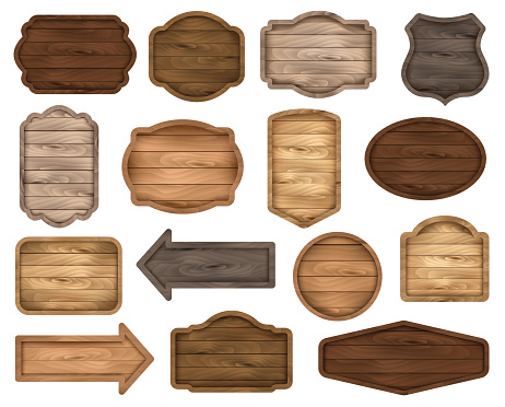 Wooden sign boards, stickers, labels, banners and badges. Vector clipart