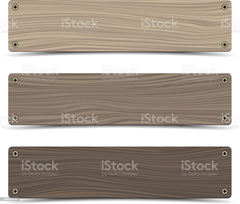 Wooden sign boards. Vector vector art illustration