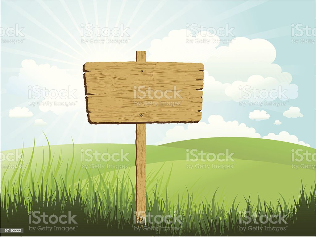 Wooden sign in grass royalty-free wooden sign in grass stock vector art & more images of abstract