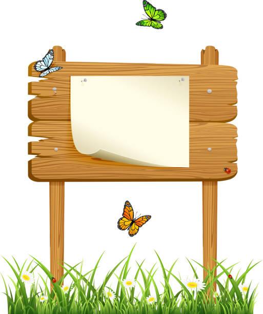 hölzerne zeichen im gras mit papier - nagelspitze stock-grafiken, -clipart, -cartoons und -symbole