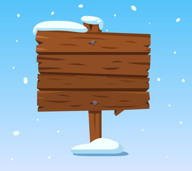 holzschild im schnee. weihnachten winter urlaub wegweiser. cartoon-holz vektor-zeichen - nagelplatte stock-grafiken, -clipart, -cartoons und -symbole