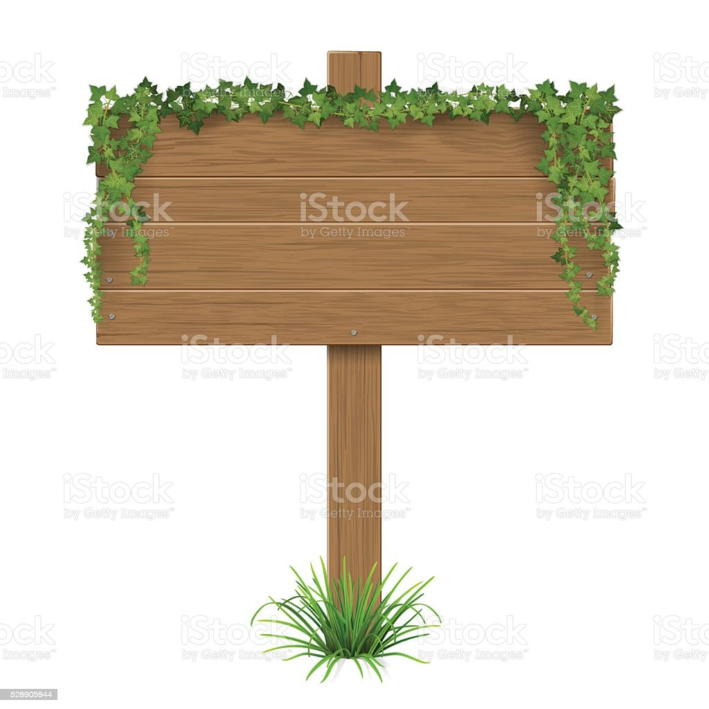 wooden sign ivy grass vector art illustration