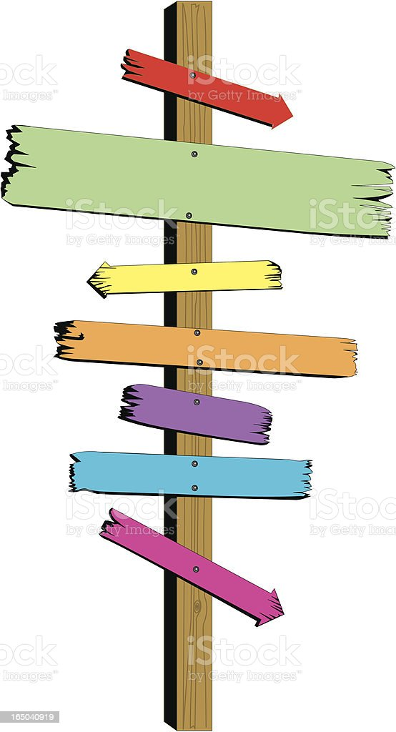 Wooden Sign Multi Plaques And Arrows Stock Illustration ...
