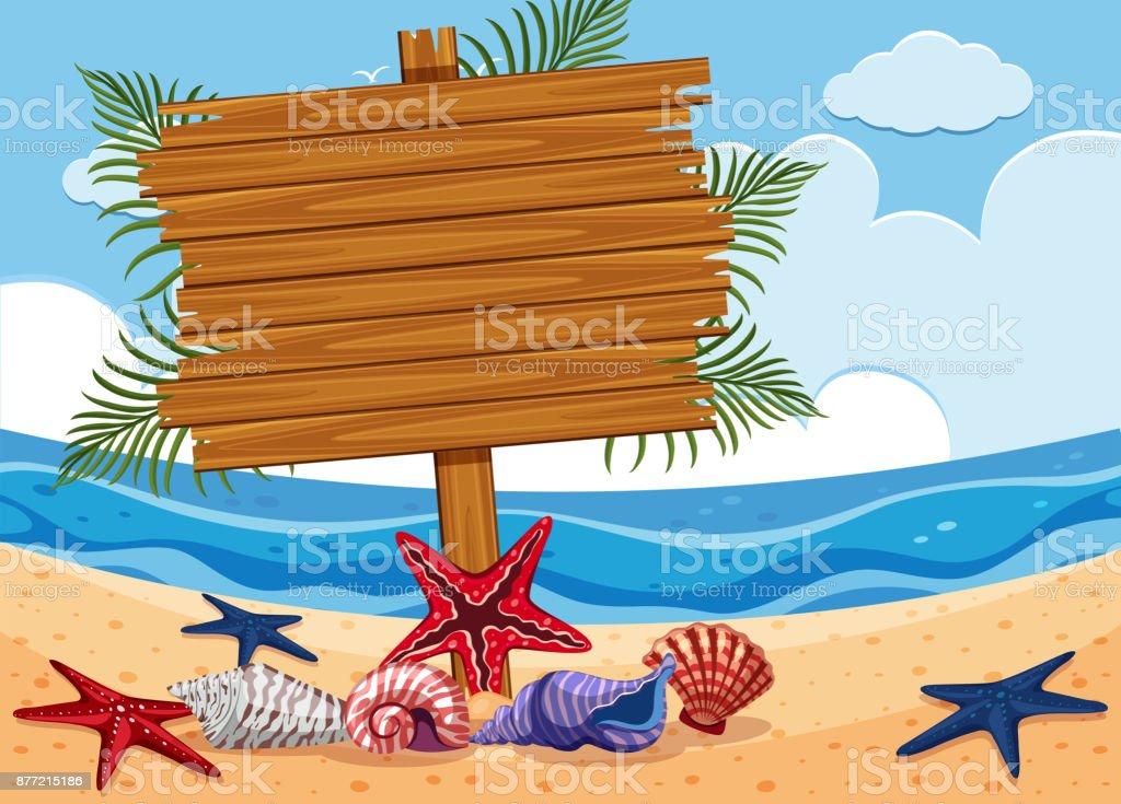 Wooden sign on the beach vector art illustration