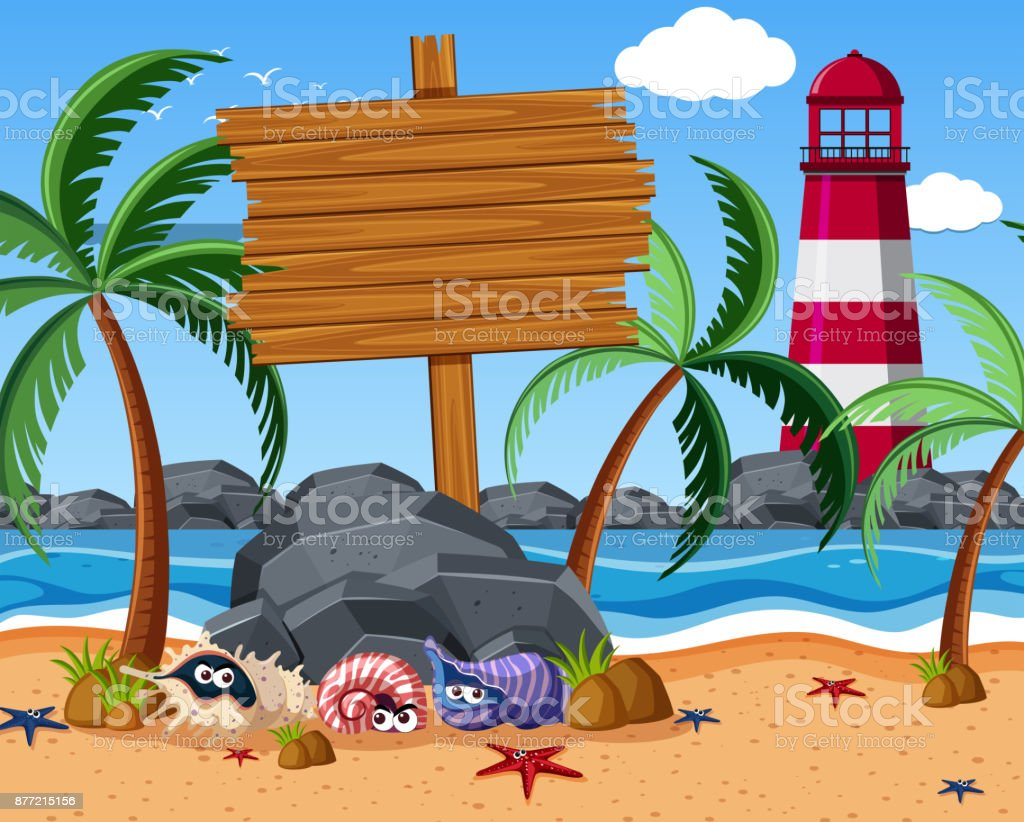Wooden sign on the beach with starfish and hermit crabs vector art illustration